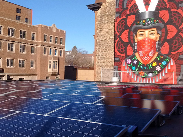 Solar installation at the American Indian Community Housing Organization in Duluth, Minnesota. Credit: Jason Edens